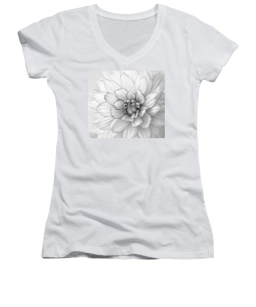 Dahlia Flower Black And White Women's V-Neck