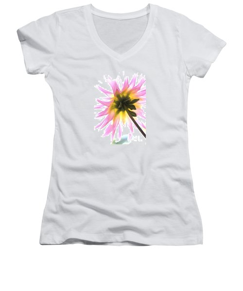 Dahlia Flower Women's V-Neck T-Shirt (Junior Cut) by Joy Watson