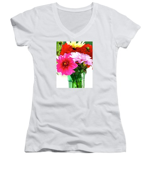Women's V-Neck T-Shirt (Junior Cut) featuring the photograph Dahlias In The Sun by Lehua Pekelo-Stearns