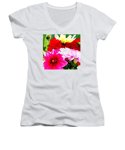 Dahlias  Women's V-Neck T-Shirt (Junior Cut) by Lehua Pekelo-Stearns