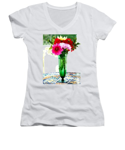 Dahlias On A Table In The Sun Women's V-Neck (Athletic Fit)