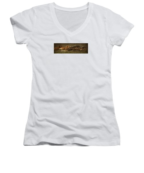 Women's V-Neck T-Shirt (Junior Cut) featuring the digital art Daily Double by Priscilla Burgers