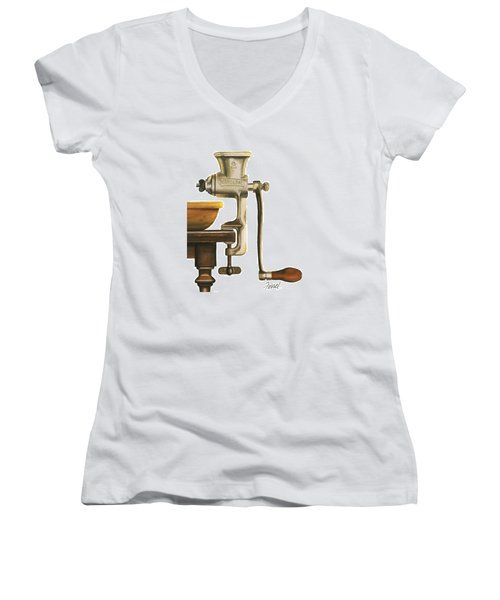 Women's V-Neck T-Shirt (Junior Cut) featuring the painting Daily Grind by Ferrel Cordle