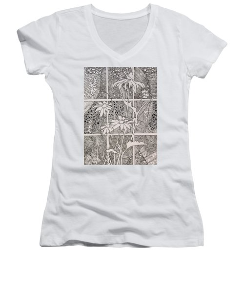 Daisies In A Window Women's V-Neck T-Shirt