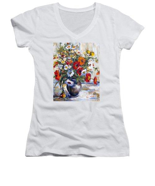 Daisies Women's V-Neck T-Shirt (Junior Cut) by Alexandra Maria Ethlyn Cheshire