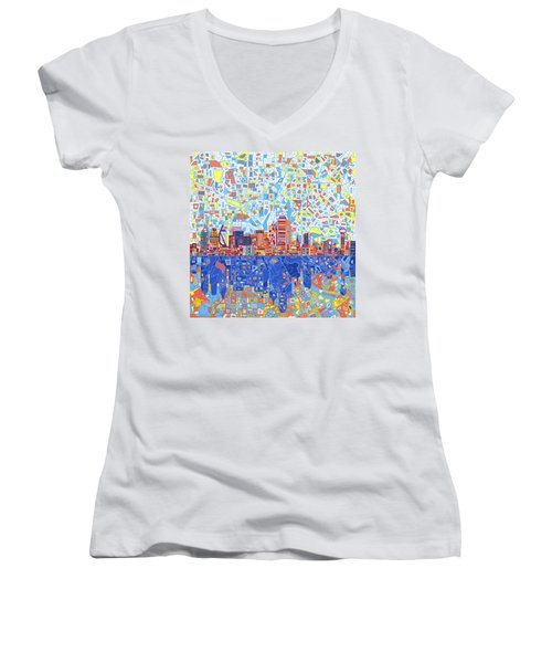 Dallas Skyline Abstract 5 Women's V-Neck T-Shirt