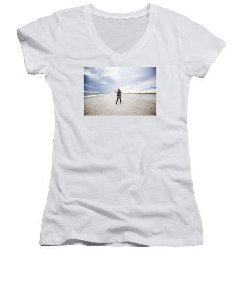 Dance At The Beach Women's V-Neck T-Shirt (Junior Cut)