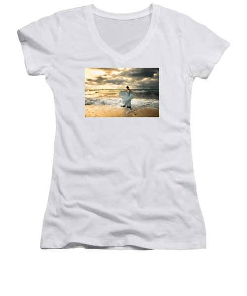 Dancing In The Surf Women's V-Neck (Athletic Fit)