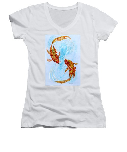 Dancing Koi Sold Women's V-Neck (Athletic Fit)