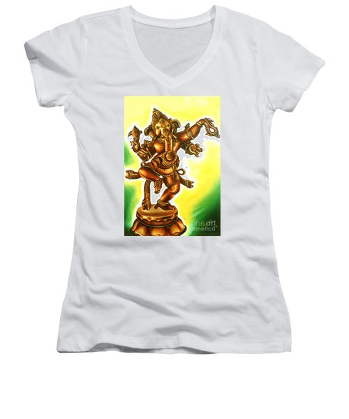 Dancing Vinayaga Women's V-Neck T-Shirt