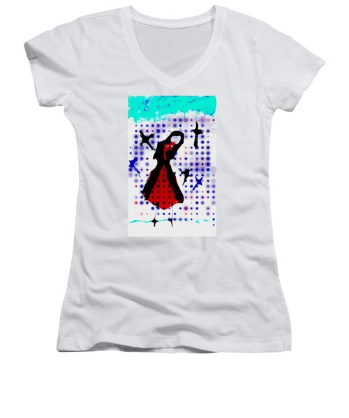 Women's V-Neck T-Shirt (Junior Cut) featuring the photograph Dancing With The Birds by Jessica Shelton