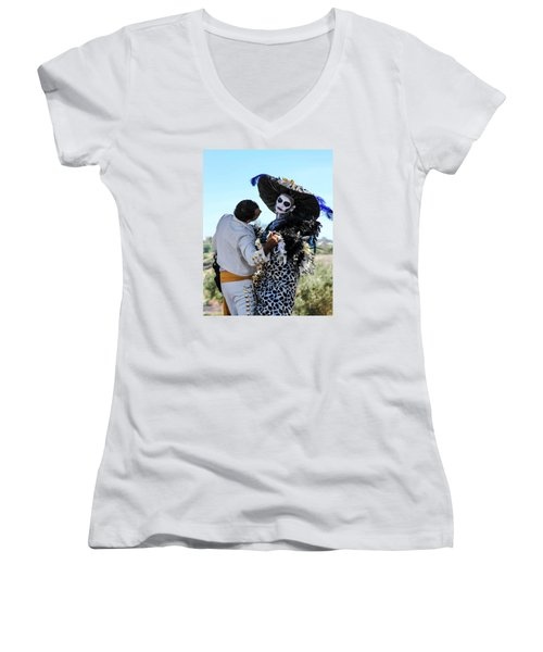 Dancing With The Death Women's V-Neck T-Shirt (Junior Cut) by Menachem Ganon