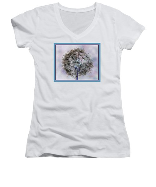 Women's V-Neck T-Shirt (Junior Cut) featuring the photograph Dandelion Blue And Purple by Kathy Barney