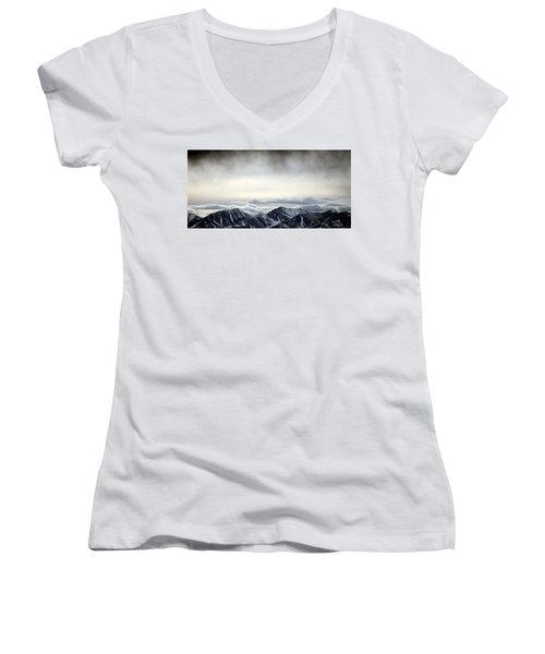 Women's V-Neck T-Shirt (Junior Cut) featuring the photograph Dark Storm Cloud Mist  by Barbara Chichester