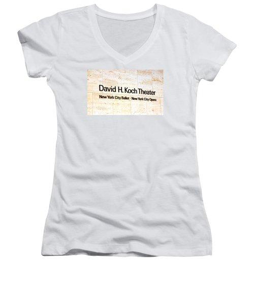 David H. Koch Theater Women's V-Neck T-Shirt (Junior Cut) by Valentino Visentini
