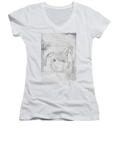 Da Vinci Horse Piaffe Grayscale Women's V-Neck T-Shirt