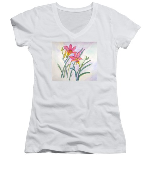 Day Lilies Women's V-Neck