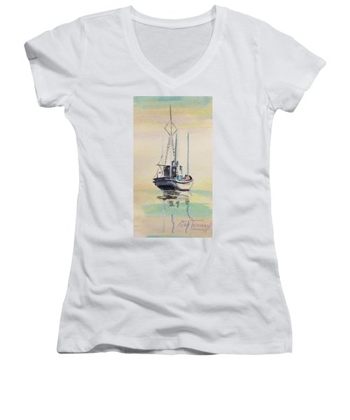 Women's V-Neck T-Shirt (Junior Cut) featuring the painting Day Of Rest by Stan Tenney