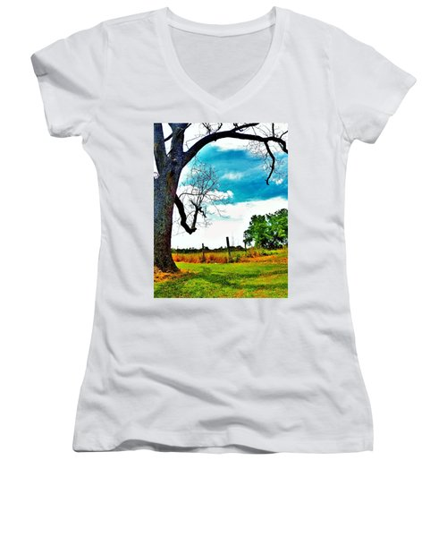 Women's V-Neck T-Shirt (Junior Cut) featuring the photograph Daydreamer by Faith Williams