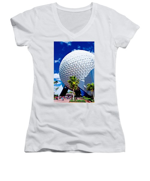 Daylight Dome Women's V-Neck T-Shirt (Junior Cut) by Greg Fortier