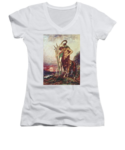 Dead Poet Borne By Centaur Women's V-Neck T-Shirt (Junior Cut) by Gustave Moreau