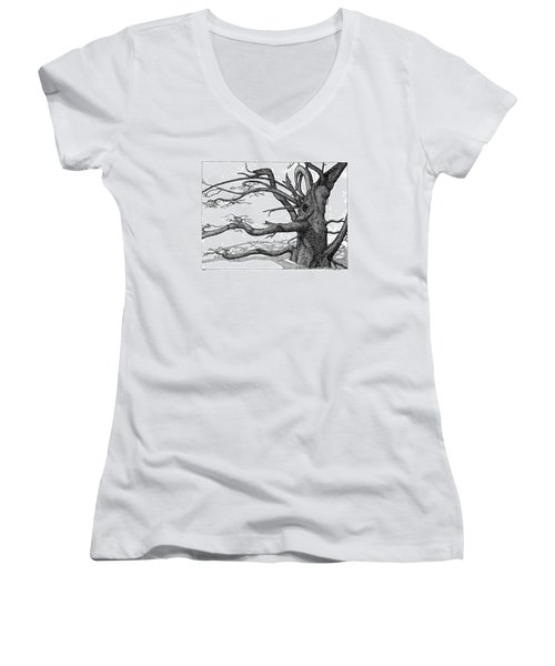 Women's V-Neck T-Shirt (Junior Cut) featuring the drawing Dead Tree by Daniel Reed
