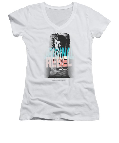 Dean - Graphic Rebel Women's V-Neck T-Shirt (Junior Cut) by Brand A