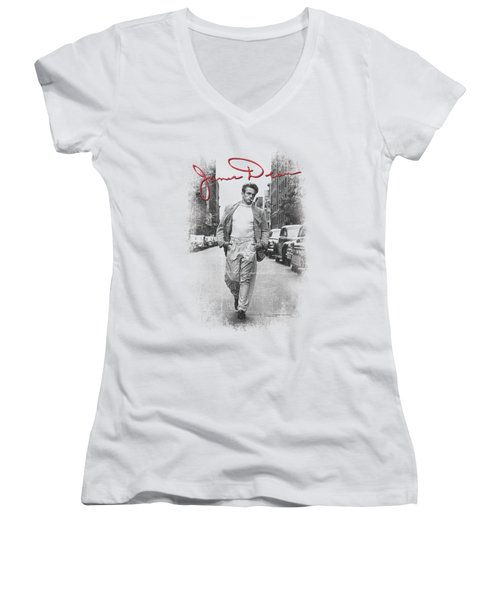Dean - Street Distressed Women's V-Neck T-Shirt (Junior Cut) by Brand A