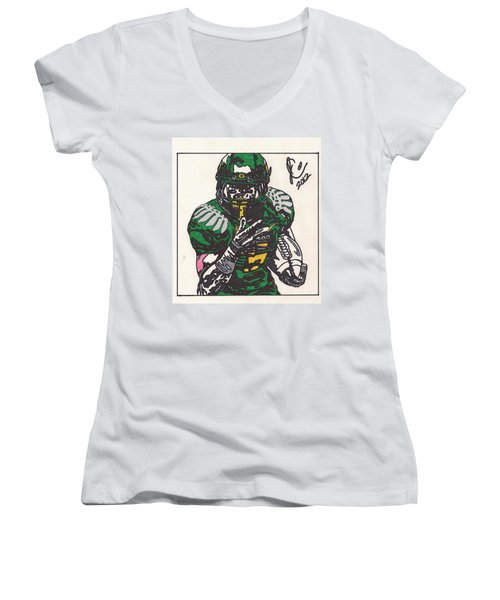 De'anthony Thomas Women's V-Neck T-Shirt (Junior Cut) by Jeremiah Colley