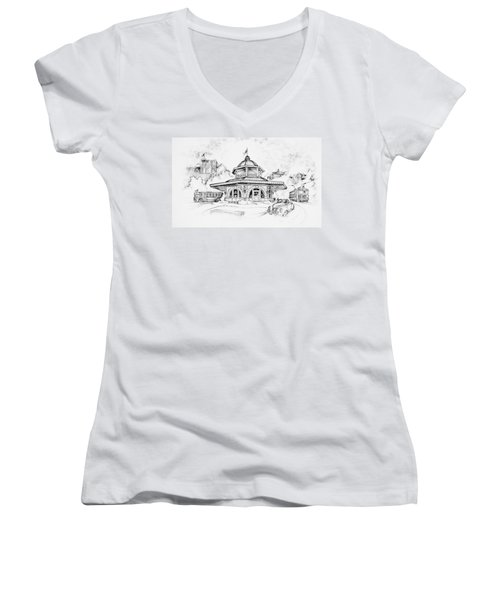 Decatur Transfer House Women's V-Neck T-Shirt (Junior Cut) by Scott and Dixie Wiley