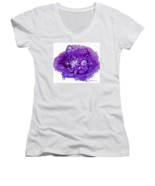 Women's V-Neck T-Shirt (Junior Cut) featuring the painting Deep Purple by Joan Hartenstein