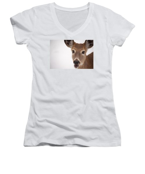 Deer Talk Women's V-Neck T-Shirt (Junior Cut) by Karol Livote
