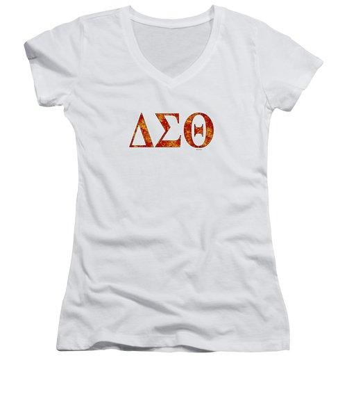 Delta Sigma Theta - White Women's V-Neck T-Shirt (Junior Cut) by Stephen Younts