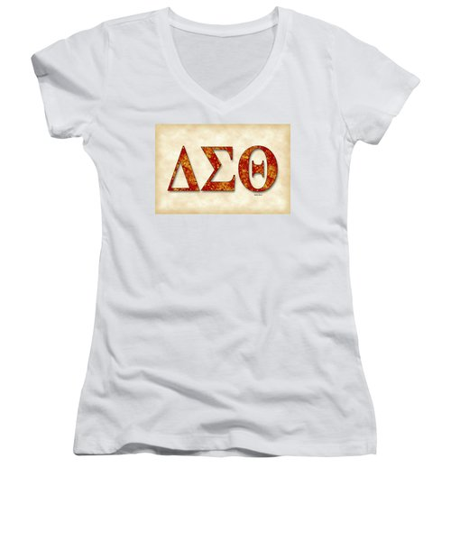 Delta Sigma Theta - Parchment Women's V-Neck T-Shirt (Junior Cut) by Stephen Younts