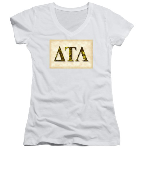 Delta Tau Lambda - Parchment Women's V-Neck T-Shirt (Junior Cut) by Stephen Younts