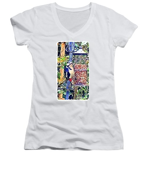 Dendrocopos Major 'great Spotted Woodpecker' Women's V-Neck