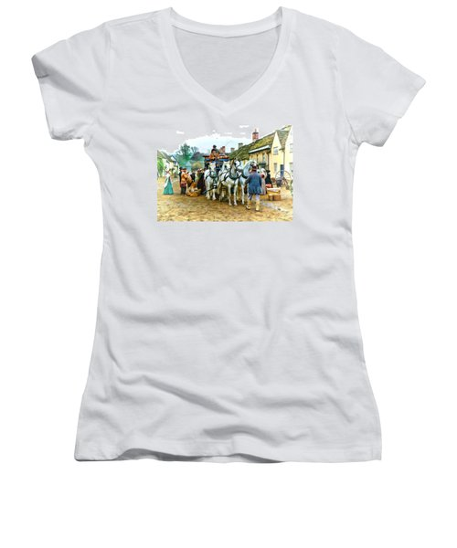 Women's V-Neck T-Shirt (Junior Cut) featuring the photograph Departing Cranford by Paul Gulliver