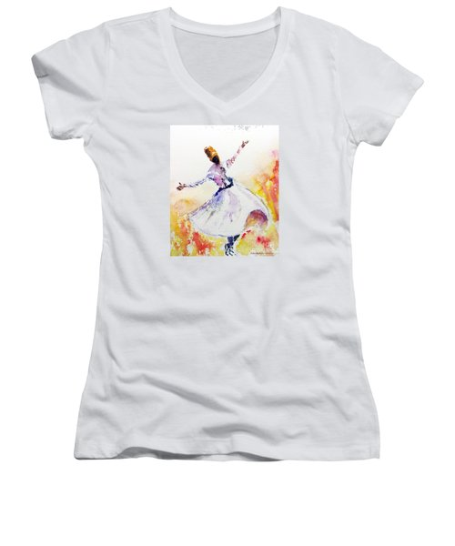 Sufi  Or Dervish Dancer Women's V-Neck (Athletic Fit)