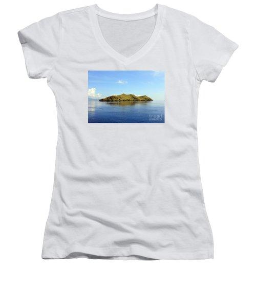 Women's V-Neck T-Shirt (Junior Cut) featuring the photograph Desert Island by Sergey Lukashin