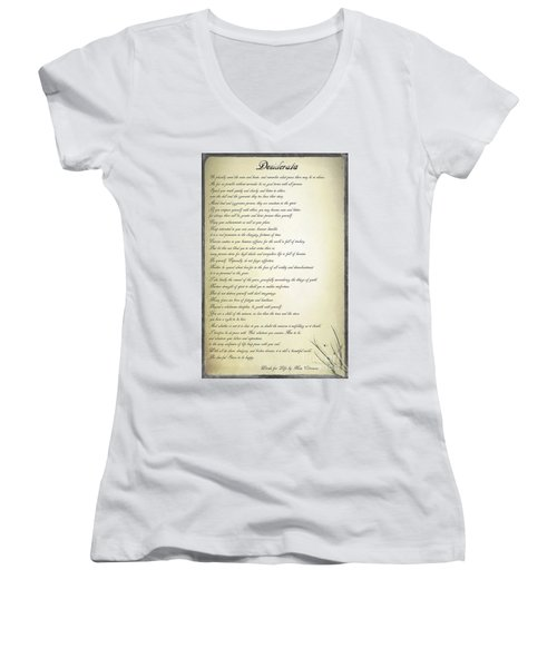 Desiderata 2 Women's V-Neck T-Shirt (Junior Cut) by Teresa Zieba