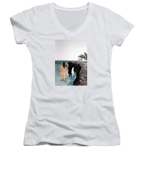 Destinos Women's V-Neck T-Shirt (Junior Cut) by Lazaro Hurtado