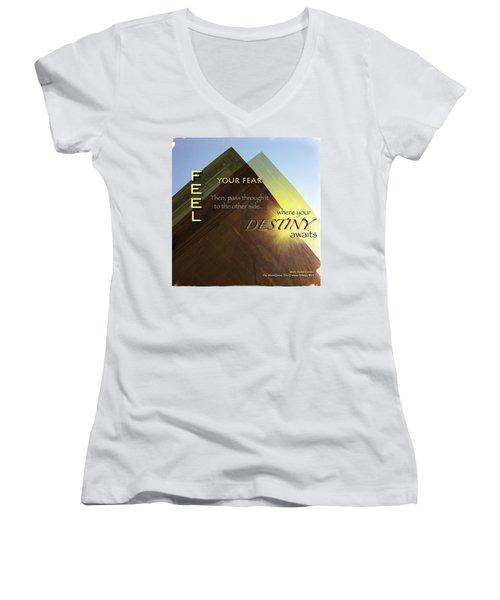 Your Destiny Waits Women's V-Neck T-Shirt (Junior Cut) by Mark David Gerson