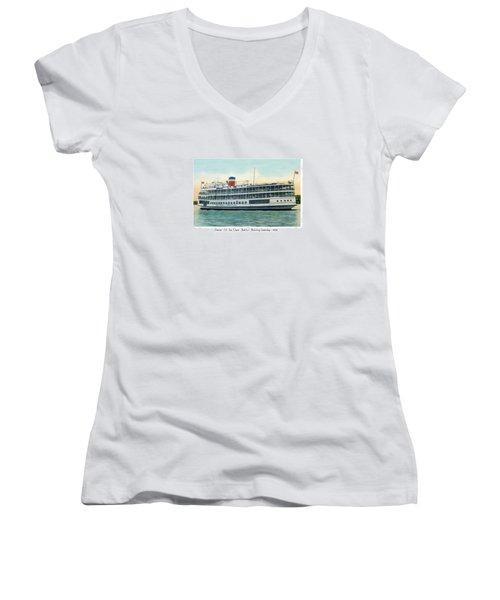 Detroit - Ss Sainte Claire - Boblo - Browning Steamship - 1938 Women's V-Neck T-Shirt
