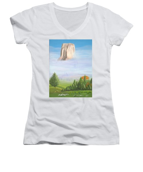 Women's V-Neck T-Shirt (Junior Cut) featuring the painting Devil's Tower  by Phyllis Kaltenbach