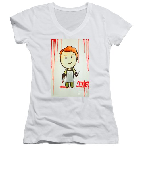 Women's V-Neck T-Shirt (Junior Cut) featuring the painting Dexter by Marisela Mungia