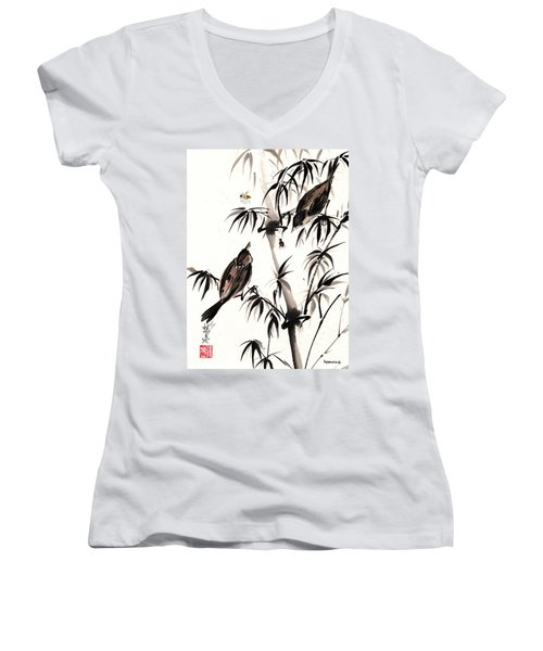 Women's V-Neck T-Shirt (Junior Cut) featuring the painting Dibs by Bill Searle