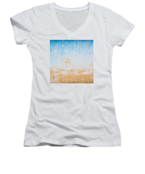Dilapidated Beige And Blue Wall Texture Women's V-Neck (Athletic Fit)
