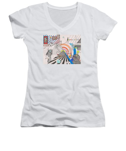 Women's V-Neck featuring the drawing Dimension  by John Wiegand