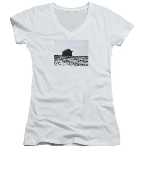 Women's V-Neck T-Shirt (Junior Cut) featuring the photograph Distant Local Train Depot by Tina M Wenger