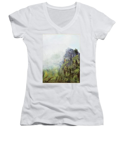 Dixville Notch Nh Women's V-Neck T-Shirt (Junior Cut) by Michael Daniels